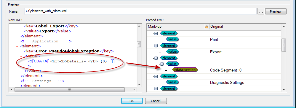 Parsing CDATA sections in an XML file